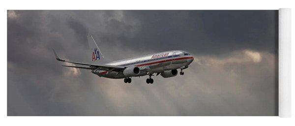 American Aircraft Landing After The Rain. Miami. Fl. Usa Yoga Mat