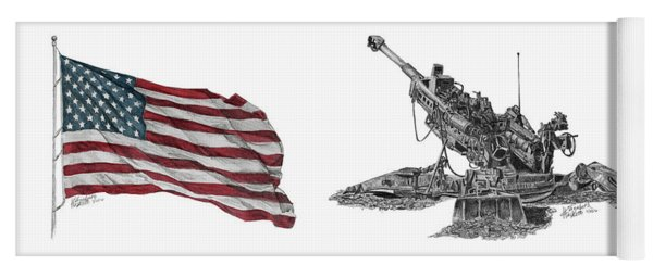 Yoga Mat featuring the drawing American Artillery by Betsy Hackett