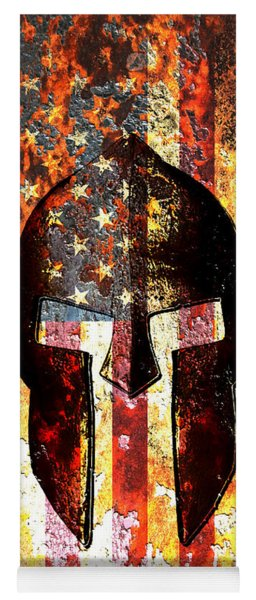 American Flag And Spartan Helmet On Rusted Metal Door - Molon Labe Yoga Mat