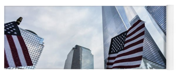 American Flag In Front Of The One World World Trade Center Yoga Mat
