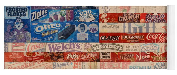 American Flag - Made From Vintage Recycled Pop Culture Usa Paper Product Wrappers Yoga Mat