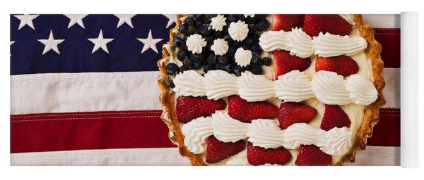 American Pie On American Flag  Yoga Mat