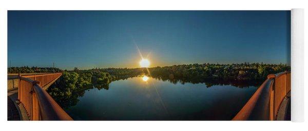 American River At Sunrise - Panorama Yoga Mat