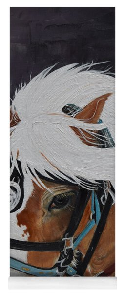 Yoga Mat featuring the painting Amos - Haflinger - Horse by Jan Dappen