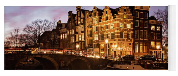 Yoga Mat featuring the photograph Amsterdam Canal Houses With Reflection At Dusk by IPics Photography