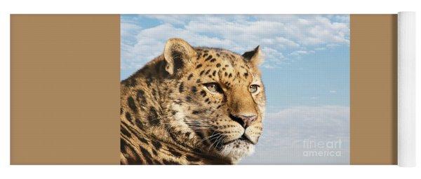 Amur Leopard Against Blue Sky Yoga Mat