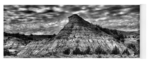 An Expanse Of Desolation In The Badlands Black And Yoga Mat