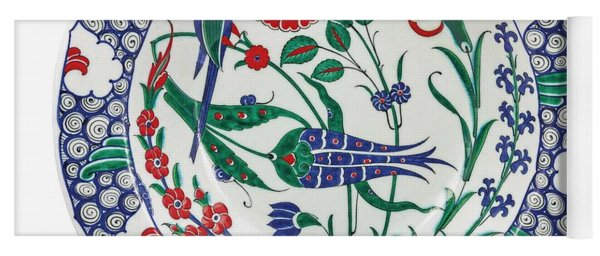 An Ottoman Iznik Style Floral Design Pottery Polychrome, By Adam Asar, No 1 Yoga Mat