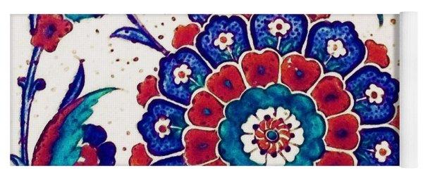 An Ottoman Iznik Style Floral Design Pottery Polychrome, By Adam Asar, No 37 B Yoga Mat