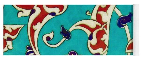 An Ottoman Iznik Style Floral Design Pottery Polychrome, By Adam Asar, No 46a Yoga Mat