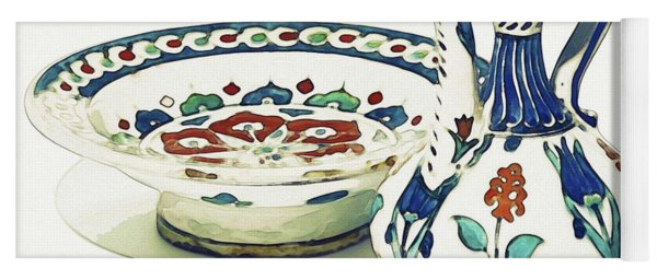 An Ottoman Iznik Style Floral Design Pottery Polychrome, By Adam Asar, No 4a Yoga Mat