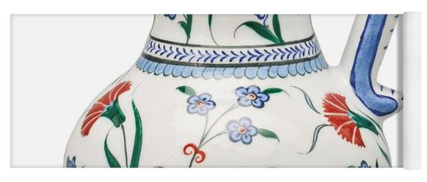 An Ottoman Iznik Style Floral Design Pottery Polychrome, By Adam Asar, No 6 Yoga Mat