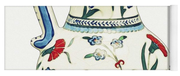 An Ottoman Iznik Style Floral Design Pottery Polychrome, By Adam Asar, No 6a Yoga Mat