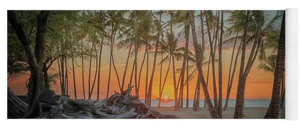 Yoga Mat featuring the photograph Anaehoomalu Beach Sunset by Susan Rissi Tregoning