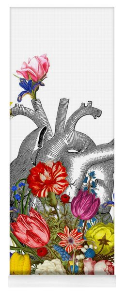 Anatomical Heart With Colorful Flowers Yoga Mat
