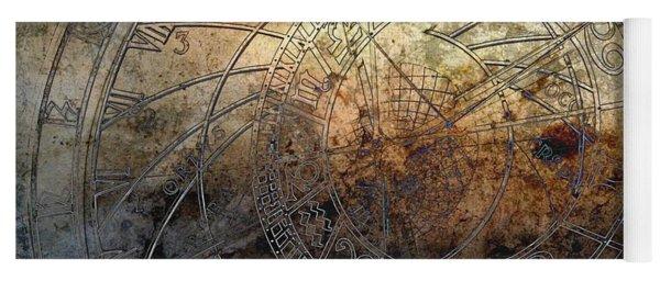 Yoga Mat featuring the digital art Ancient Astrology Clock by Marianna Mills