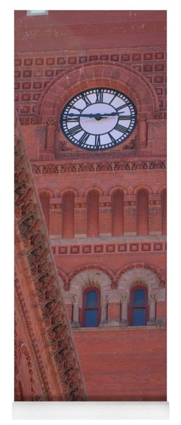 Angled View Of Clocktower At Dearborn Station Chicago Yoga Mat