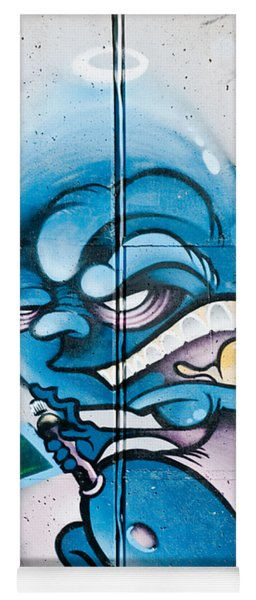 Angry Blue Creature With A Spray-paint Can Yoga Mat