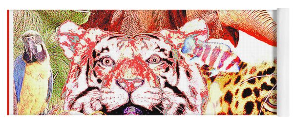 Animal Collage Digital Art Yoga Mat