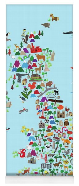 Animal Map Of Great Britain And Ni For Children And Kids Yoga Mat