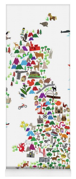 Animal Map Of Great Britain For Children And Kids Yoga Mat