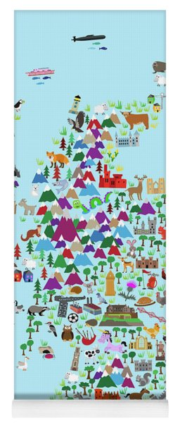 Animal Map Of Scotland For Children And Kids Yoga Mat