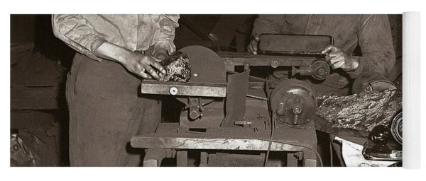 Anthracite Coal Artist  Charles Edgar Patience On Right  1906-1972 In Studio 1953    Yoga Mat