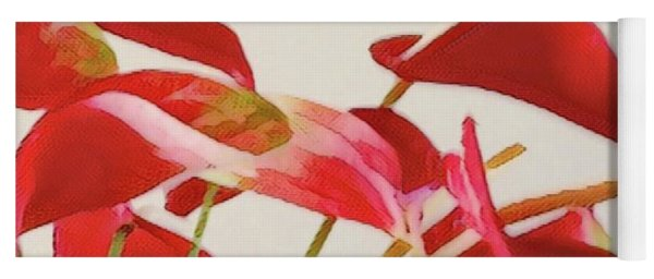Anthurium Fragments In Red Two Yoga Mat