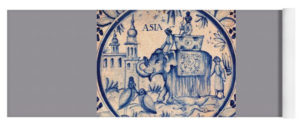 Continental Romantic Blue And White Ceramic Tile Depicting An Asian Elephant With Mahouts And Birds Yoga Mat