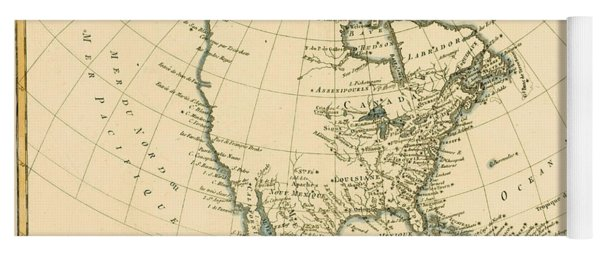 Antique Map Of North America Yoga Mat