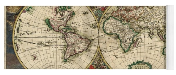 Antique Map Of The World - 1689 Yoga Mat