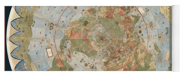 Antique Maps - Old Cartographic Maps - Flat Earth Map - Map Of The World Yoga Mat