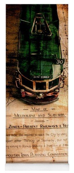 Antique Melbourne Travel Map Yoga Mat