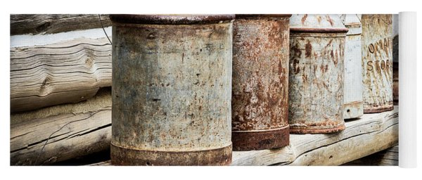Yoga Mat featuring the photograph Antique Milk Cans by Nadja Rider
