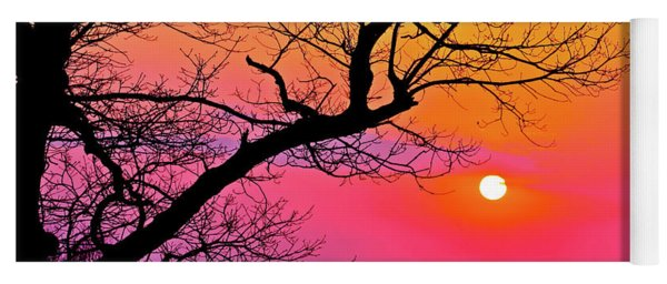 Appalcahian Sunset Tree Silhouette  #1 Yoga Mat