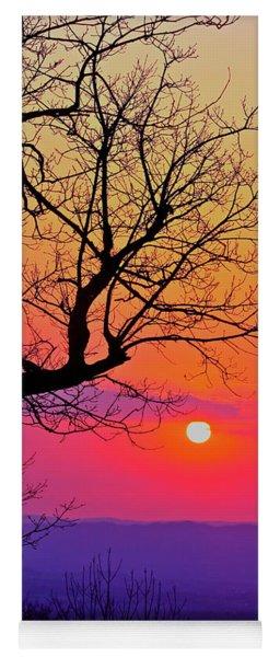 Appalcahian Sunset Tree Silhouette #2 Yoga Mat