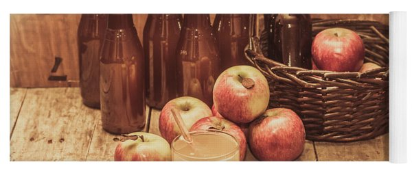 Apples Cider By Wicker Basket On Wooden Table Yoga Mat