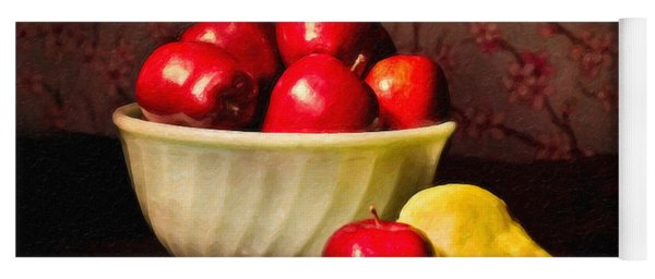 Apples In Bowl With Pear Yoga Mat