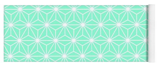 Aqua Geometric Flowers And Florals Isosceles Triangle Yoga Mat