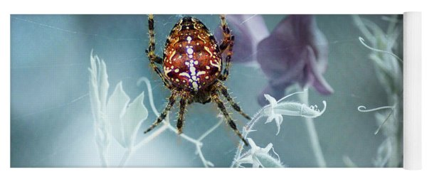 Araneus Spider With Flowers Yoga Mat