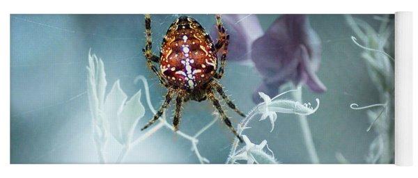 Araneus Spider With Flowers Yoga Mat