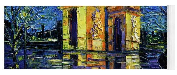 Arc De Triomphe Paris Mirroring Modern Impressionist Impasto Cityscape Oil Painting Yoga Mat