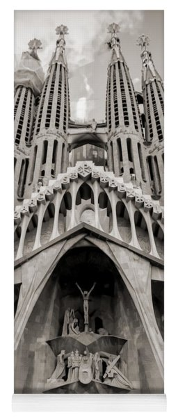Architecture Antoni Gaudi La Sagrada Familia Barcelona Spain Sepia  Yoga Mat