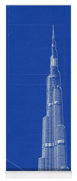 Archtecture Blueprint  Burj Khalifa Yoga Mat