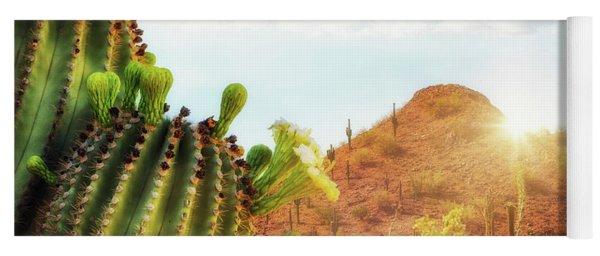 Arizona Desert Scene With Mountain And Cactus Yoga Mat