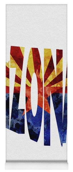 Arizona Typographic Map Flag Yoga Mat