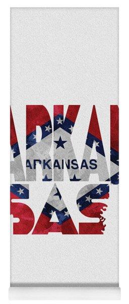 Arkansas Typographic Map Flag Yoga Mat