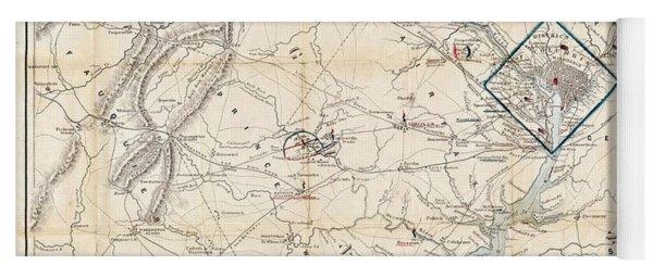 Army Map Of Seat Of War In Virginia 1862 Yoga Mat