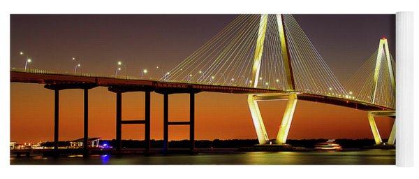 Arthur Ravenel Bridge At Night Yoga Mat