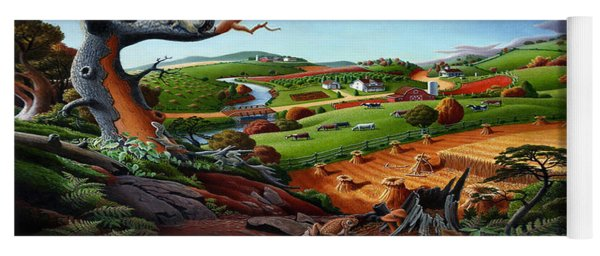 Appalachian Fall Thanksgiving Wheat Field Harvest Farm Landscape Painting - Rural Americana - Autumn Yoga Mat